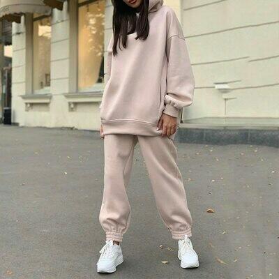 Fleece Tracksuit Hoodie Sport-Pants Two-Piece-Set Women's Sets Oversized Long-Sleeve