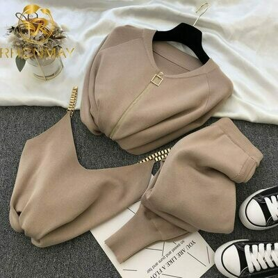 Woman Fashion Vest Sweaters Outfit Jumpers-Trousers Pants-Sets Cardigans Costumes Knitted