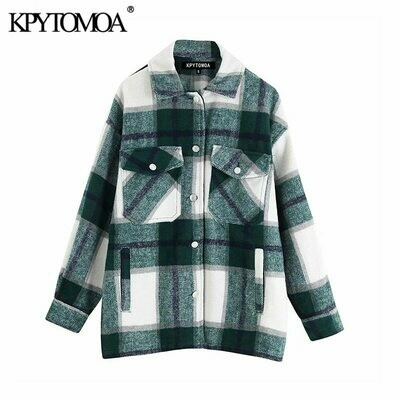 Plaid Jacket Loose Outerwear Coat Women Oversized Long-Sleeve Vintage Stylish Chic-Tops