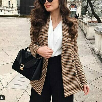 Female Blazer Jackets Suit Coat Plaid Business Autumn Office Lady Talever Double-Breasted