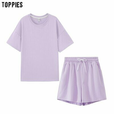 Clothing Tracksuits T-Shirts Outfits Shorts Oversized Two-Peices-Set Leisure Candy-Color