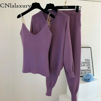 Pants Women Tracksuits Cardigans Tank-Top Knitting-Suit Zip-Jacket Solid-Lounge-Set Casual