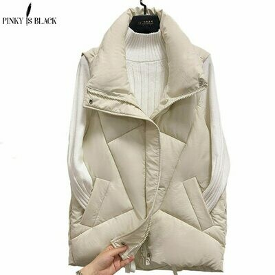 Short Vest Jacket Padded Winter Women Sleeveless Pinkyisblack-Stand Female Cotton New