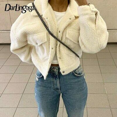 Cropped Jackets Outwear Overcoat Lamb Wool Warm Fleece Autumn Shaggy Single-Breasted