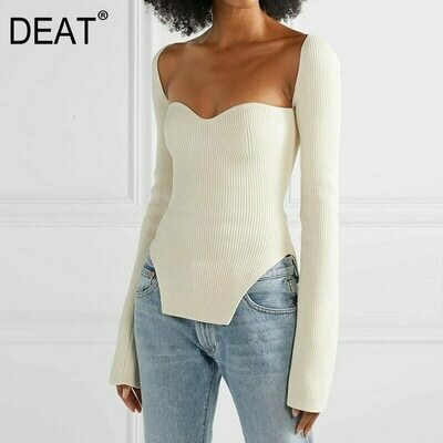Sexy Pullover Spring Sqaure-Collar Cashmere High-Waist Full-Sleeves Fashion Women Summer