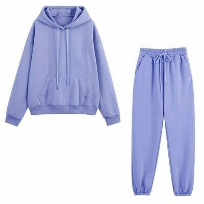 Tracksuits Women Pants Outfits Hoodie Sweatshirt Two-Pieces-Set Oversized Fleece Autumn Winter