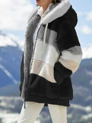 Women's Coat Lamb-Hair Stitching Hooded Zipper Plaid Fashion Casual Ladies Winter Jacket