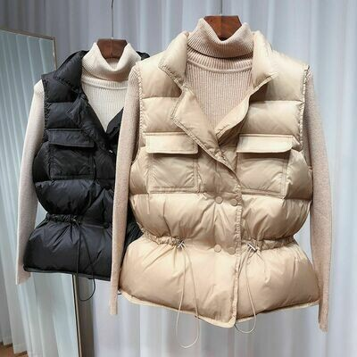 Short Vest Waistcoat Lightweight White-Duck-Down Ultra-Light Warm Women Windproof Sleeveless