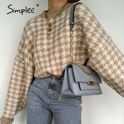 Pullover Sweater Retro Jumper Geometric Simplee Houndstooth Khaki Autumn Winter Casual