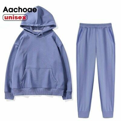 Casual Tracksuit Pants Hoodies Sweatshirt Couple Fleece Aachoae 2pieces-Sets 100%Cotton-Suits