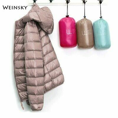 Warm Coat Outwear Hooded-Jackets Parka Ultralight Long-Sleeve White-Duck-Down Female