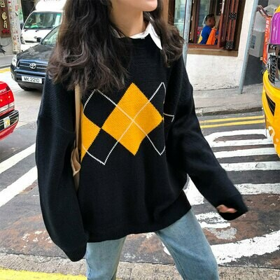 Sweaters Woman Jumper Pullovers Argyle Knitted Geometric-Pattern Loose College-Style