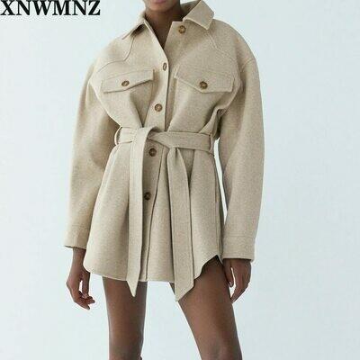 Jacket Coat Outerwear Belt Side-Pockets Long-Sleeve Vintage Female Woolen Loose Chic