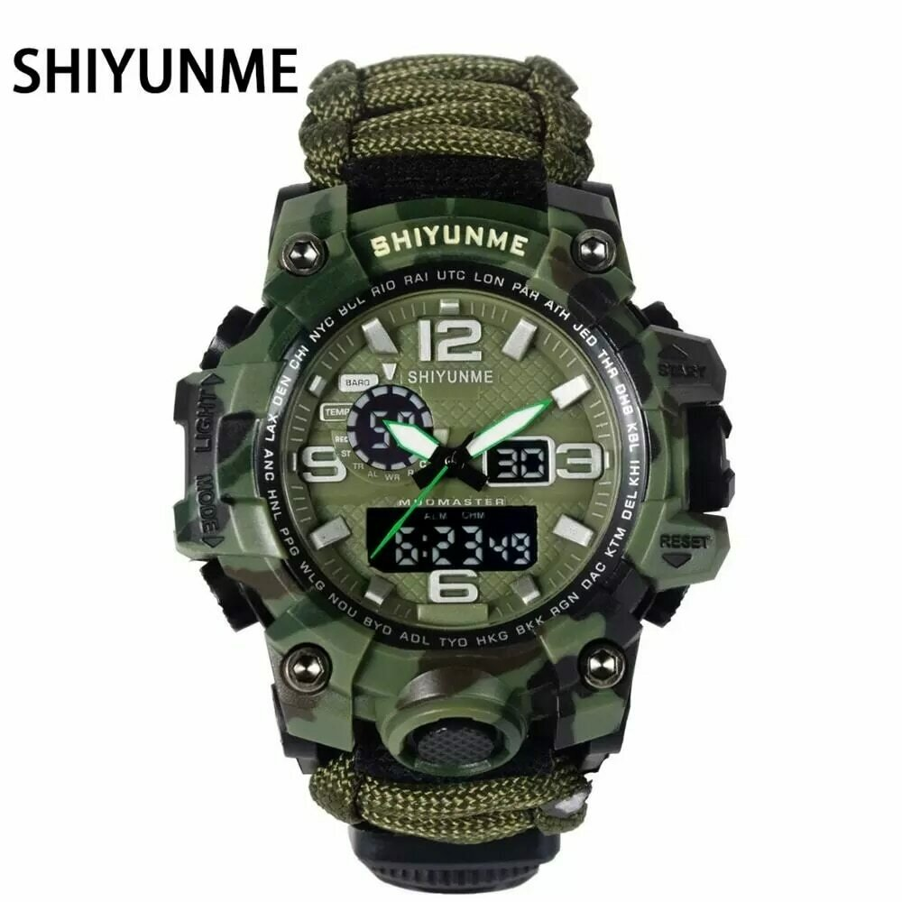 Compass Military-Watch Camouflage-Strap SHIYUNME Led Quartz Sports Male Relogios Display