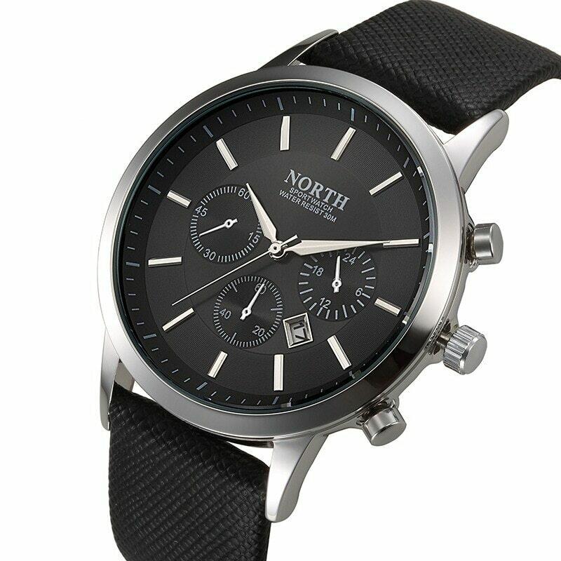 Men Watch Clock Calendar Classic Black North Men's Business Quartz-Man Sport Fashion