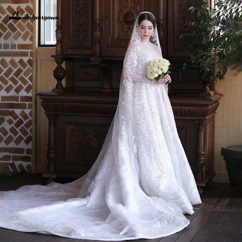 Wedding-Dresses Bridal-Gown Flowers Sleeve Vestidos-De-Novia-Cap Sexy Chapel Train Lace