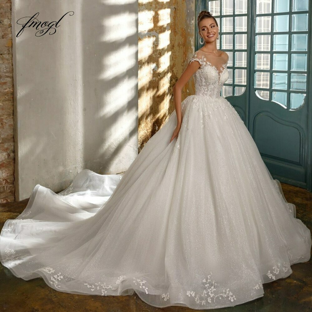 Ball-Gowns Wedding-Dresses Beaded Lace Arabic Luxury Saudi Dubai Mariage Puffy Crystal-Plated