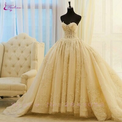 Wedding-Dresses Bridal-Gowns Satin Poppy Beaded Long-Sleeves High-Neck Lceland Floor-Length