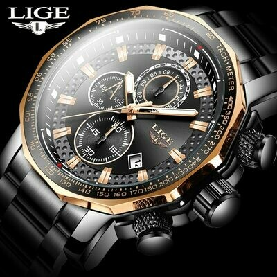 Watches LIGE Chronograph Business Stainless-Steel Top-Brand Waterproof Luxury Fashion Mens