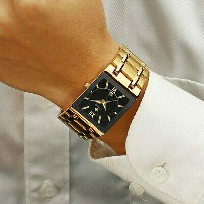 Relogio Masculino WWOOR Gold Black Watch Men Quartz Waterproof Wrist Watch For Men Fashion