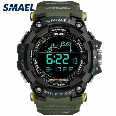 Mens Watch Led 1802 Digital Water-Resistant SMAEL Military Army Male Relogio Sport