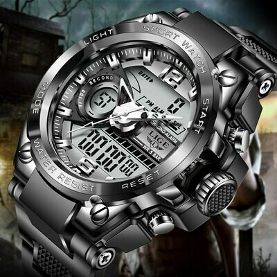 Relogio Masculino 2021 LIGE Sport Men Quartz Digital Watch Creative Diving Watches Men Waterproof Alarm Watch Dual Display Clock