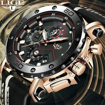 Quartz Watch Man Clock Sport Chronograph Waterproof LIGE Date Top-Brand Relogio Masculino