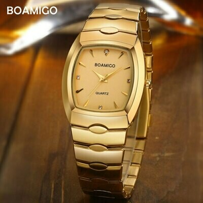 Men Watches Clock Boamigo Luxury Fashion Business Stainless-Steel Gold Male Portable