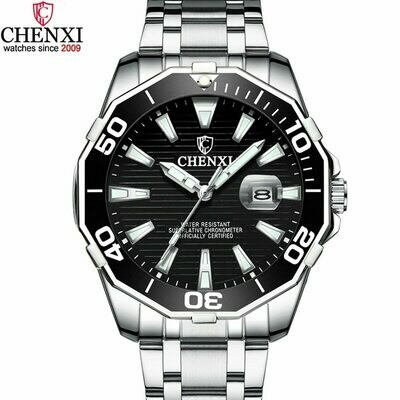 Luxury CHENXI Business Men Watch Silver Stainless Steel Black Casual Watch for Men Big