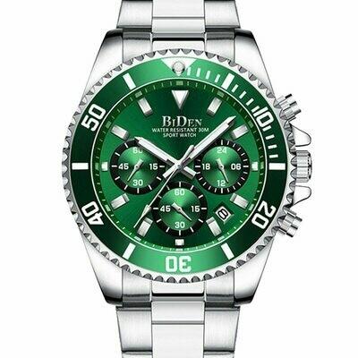 Luxury Men Watches Top Brand Silver Stainless Steel Stop Watch Calendar Casual Sport