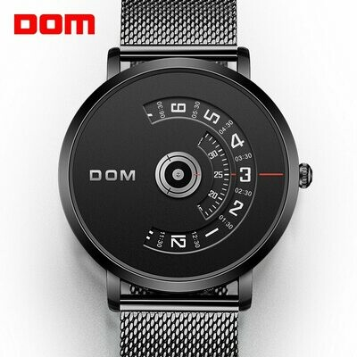 Clock Quartz-Watch Mesh-Strap Relog Top-Brand Steel Male Luxury DOM M-1303 Casual Men