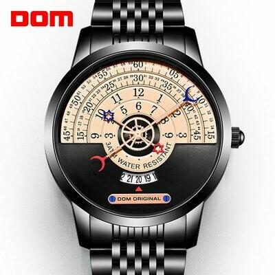Quartz-Watch Calendar DOM Gold Metal Black Unique Men's Waterproof High-Quality Multi-Function