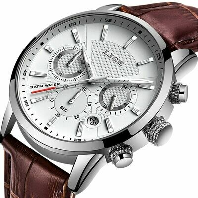 2020 New Mens Watches LIGE Top Brand Leather Chronograph Waterproof Sport Automatic Date