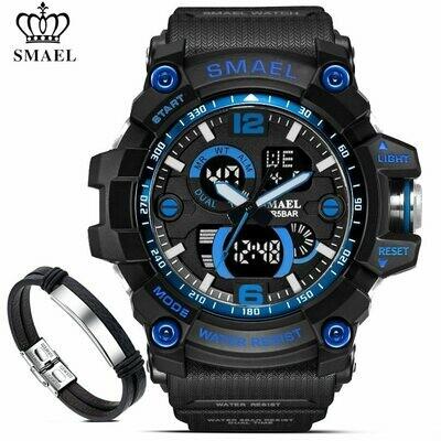 Bracelet-Set Wristwatches Led-Backlight Digital 1617 SMAEL Sport Dual-Display Analog
