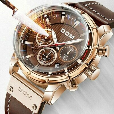DOM Sapphire Sport Watches for Men Glod Top Brand Luxury Military Leather Wrist Watch