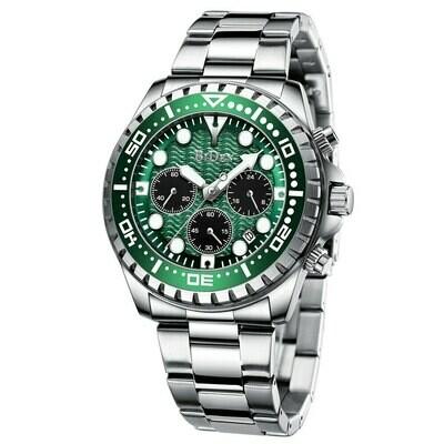 Sport Watch Quartz-Gift Silver Waterproof Green Japan Stainless-Steel Male Luxury Brand