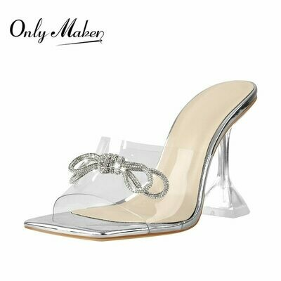 Onlymaker Women's Square Toe Bows Rhinestones Clear Heels Bling Transparent High Heel PVC Sandals Party Silver Sandals