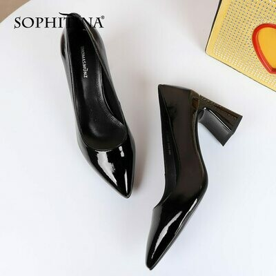SOPHITINA 2021 New Women's Pumps Patent Leather Pointed Toe Special Heel Elegant High Heels Soft Ladies Dress Work Shoes PC938