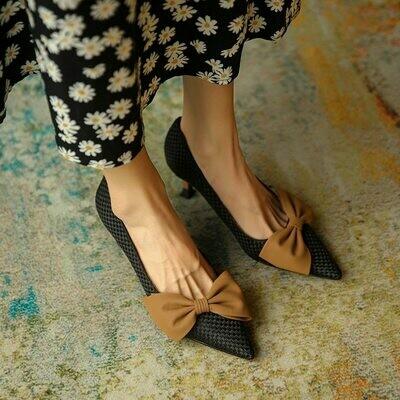 GUIDIBASIC2021 Fashion Women Pumps Shoes On Heels Thin Heel Retro Women's High Heels Pointed Head D18-JH867