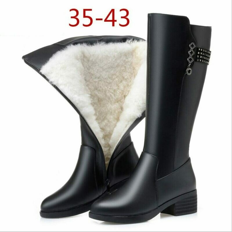 Women Winter Boots Genuine Leather Female boots high-heeled women long boots wool lined warm snow boots Lady Fashion shoes