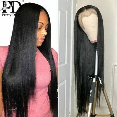 Wig Human-Hair-Wigs Lace-Frontal Glueless Pre-Plucked 180-Density Straight Brazilian