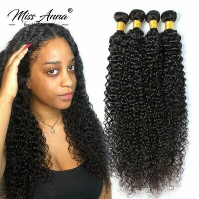 Kinky Curly Hair Weaves Human-Hair-Extensions Remy Deep Missanna Natural Brazilian 40inch