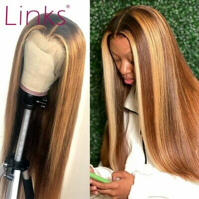 Wigs Links Human-Hair Remy-Highlight Brown Frontal Lace-Front Pre-Plucked Straight Women