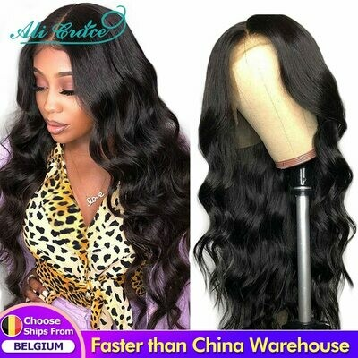 Wig Human-Hair-Wigs Hairline Ali-Grace Body-Wave Lace-Front Natural Pre-Plucked Brazilian