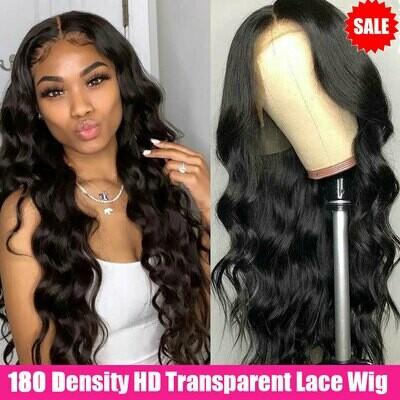 Brazilian Wig Human-Hair-Wigs T-Part Transparent-Lace Body-Wave Wavy Lace-Front 180-Density