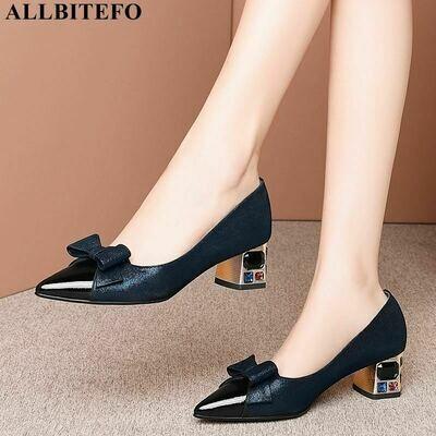 ALLBITEFO sweet bowtie full genuine leather brand high heeks office ladies shoes women high heel shoes party women heels
