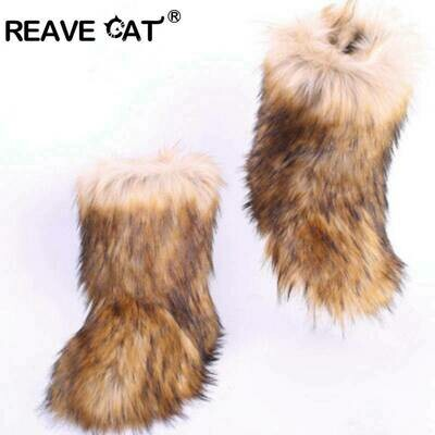 Furry Boots Headband Fur-Shoes Luxury-Fur Women Winter No with Bag for REAVE CAT