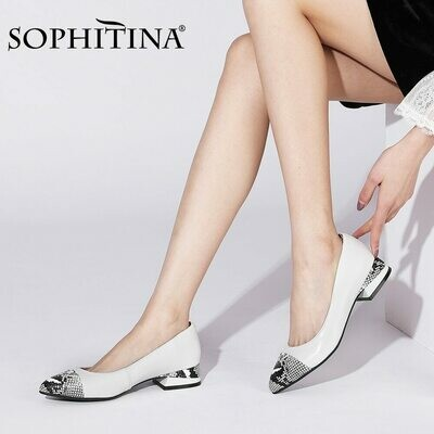 SOPHITINA Women Dress Shoes High Quality Genuine Leather Mid Heel Pumps Comfort Work Walking Spring Women Shoes 2021 New PC954