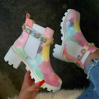 Ankle-Boots Platform Runway Crystal Real-Leather Belt-Buckle Chunky High-Heels Woman