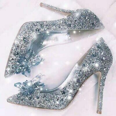Women Pumps Wedding-Shoes Rhinestone Crystal Pointed-Toe Party High-Heels Newest 7cm/9cm